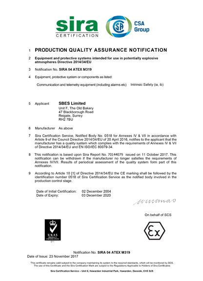 Quality Assurance Notification
